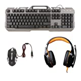 Jili Online USB Backlit Gaming Keyboard and Mouse Combo USB Wired Orange LED Backlight Headset for PC Computer