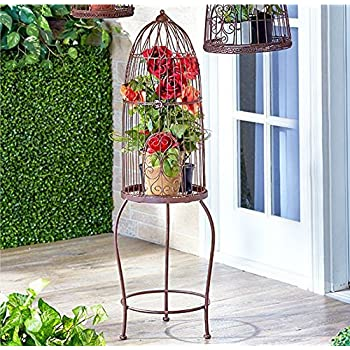 Rustic Vintage Style Birdcage od Stand Shabby Chic Country Spring Planter Flowerpot Holder Garden Decor
