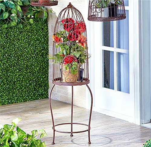 Rustic Vintage Style Birdcage od Stand Shabby Chic Country Spring Planter Flowerpot Holder Garden Decor 0