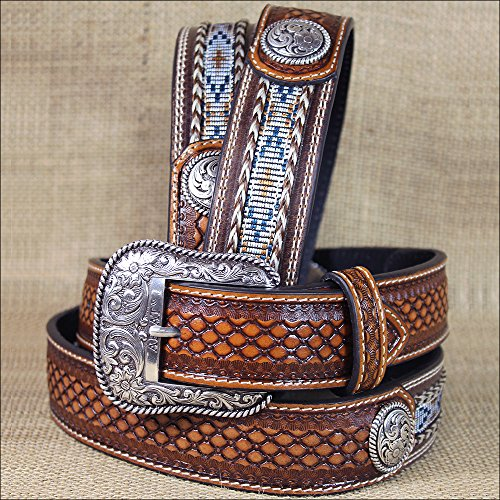 32-46 INCH WESTERN ARIAT LEATHER MENS BELT BASKETWEAVE FLORAL CONCHOS BROWN