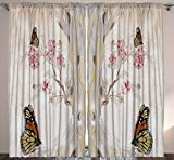 Ambesonne Modern Home Farmhouse Decor, Tree Butterflies Flowers Floral Design Drawing Effect Art Print, Bedroom Living Room Curtain 2 Panels Set, 108 X 90 Inches, Beige Gray Pink Green Tan