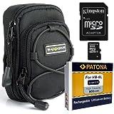 SET mit Tasche Bundlestar Blackstar V3 universal Schwarz + PATONA Akku f�r Canon NB-6L + Speicherkarte Kingston Micro SDHC 16GB Class 10 (mit Adapter) -- F�r Canon PowerShot D30 SX700 SX710 SX600 SX610 SX240 SX260 SX270 SX280 S120