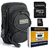 "SET mit Tasche Bundlestar Blackstar V3 universal Schwarz + PATONA Akku f�r Canon NB-6L + Speicherkarte Kingston Micro SDHC 16GB Class 10 (mit Adapter) -- F�r Canon PowerShot D30 SX700 SX600 SX240 SX260 SX270 SX280 S120von ""Bundlestar"""