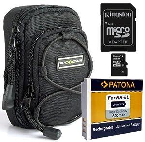 Ensemble avec l'étui Bundle Blackstar universel Patona Noir + batterie pour Canon NB-6L + Samsung Essential carte mémoire SDHC 8 Go Class 6 - Pour Canon PowerShot SX240 SX260 SX270 SX280 S120