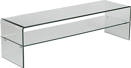 Banco de televisión cristal curvado 1 estante, L80