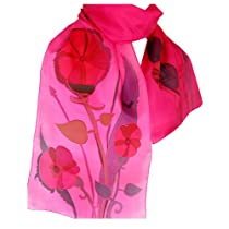 ArtisanStreet's Fuchsia Pink Hand Painted Silk Scarf. One of a Kind, Signed.