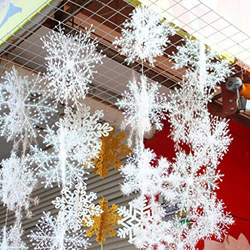 JH Nuevo Clásico Copos De Nieve Blancos Adornos Navidad Vacaciones Fiesta Hogar...