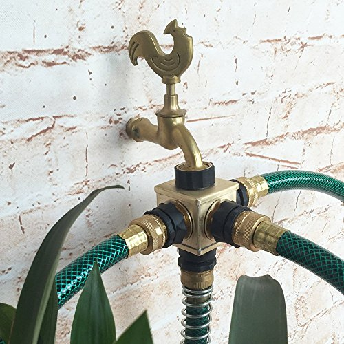 The CUBE -Heavy Duty Brass Connector 4-Way Garden Hose Shut Off Connector 4-Port Manifold with 4 Male Quick Connectors (Four Hose Manifold compare prices)