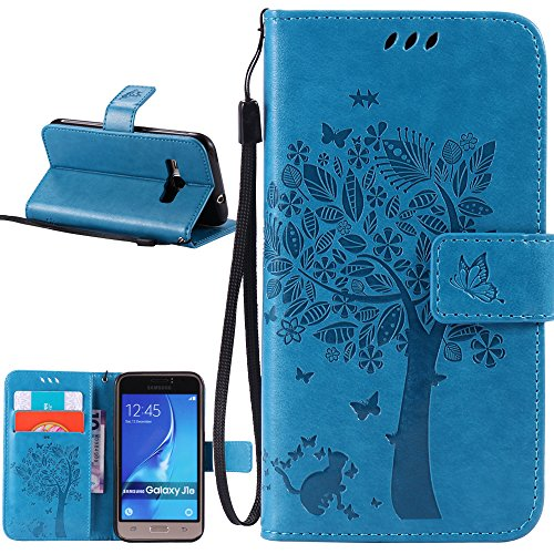 J1 2016 Case, Galaxy Amp 2 Case, Galaxy Express 3 Case, Harryshell(TM) Cave Tree Cat Wallet Flip Leather Case Cover with Card Slot & Wrist Strap for Samsung Galaxy J1 2016 / Amp 2 / Express 3 (Blue) (Galaxy 3 Phone Cases Wallet compare prices)