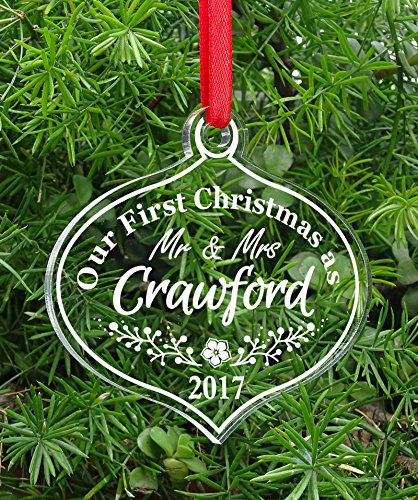 Custom First Christmas Gift Personalized Christmas Tree Ornament Clear Laser Engraved Hanging With Gift Box