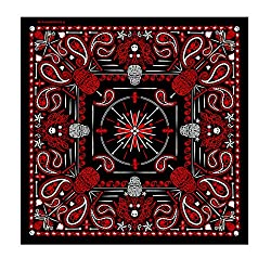 """Hot Leathers Signature Bikers Bandanas Collection Original Design, 21"""" x 21"""" - BANDANA MENS RED PAISLEY SKULL by Officially Licensed & Trademarked Products"""