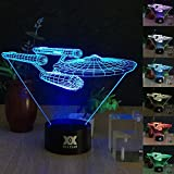 HUI YUAN Battleship 3D Night LAMP 7 Colour Touch Switch Table Desk Night Light Kiddie Kids Gift Home Decoration Color Changeable Kiddie Kids Gift Home Decoration