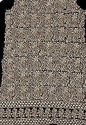 Exotic India Jet-Black Lukhnavi Chikan Salwar Kameez Fabric with All-Ove - Black
