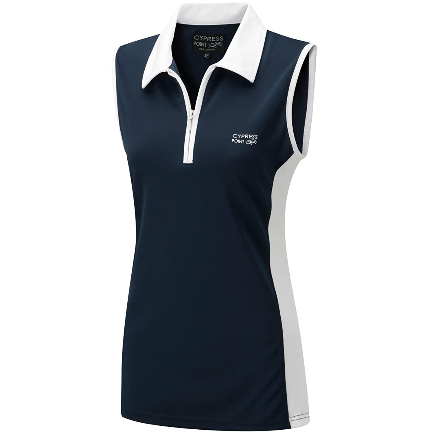 Ladies moisture wicking navy blue white sleeveless golf for Ladies sleeveless golf polo shirts