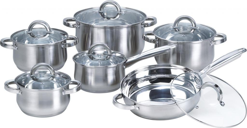 12 Piece Stainless Steel Cookware Set With Glass Lids Pots