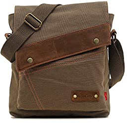 EcoCity Mens Womens Vintage Canvas Crosssbody Bags Messenger Bag Shoulder Bags MB0002A4 (Army green)