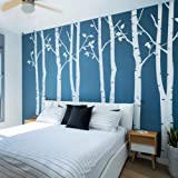 N.SunForest 7.8ft White Birch Tree Vinyl Wall Decals Nursery Forest Family Tree Wall Stickers Art Decor Murals - Set of 8 (Color: White, Tamaño: 94 inch x 155 inch)