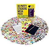 40 Assorted Puffy Sticker Sheets Mega Variety Pack for Kids, Toddlers & Teachers: 950+ Cute 3D Puffy Stickers for Fun & Scrapbooking Activities - Includes Animals, Alphabet, Emoji, Stars, Cars & More!