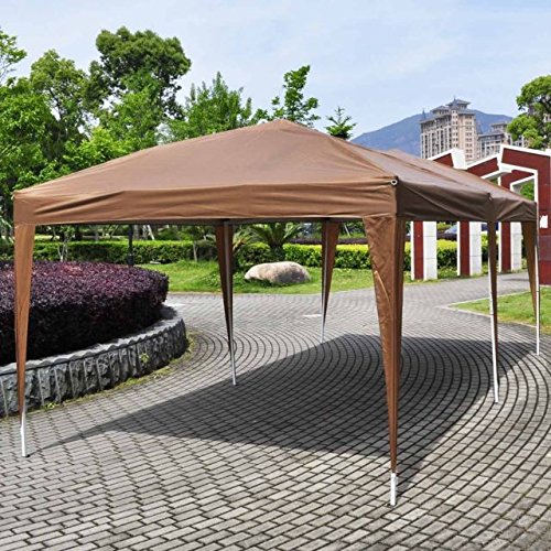 EZ POP UP Wedding Party Tent 10'X20' Folding Gazebo Beach Canopy W/Carry Bag (Coffee Brown)