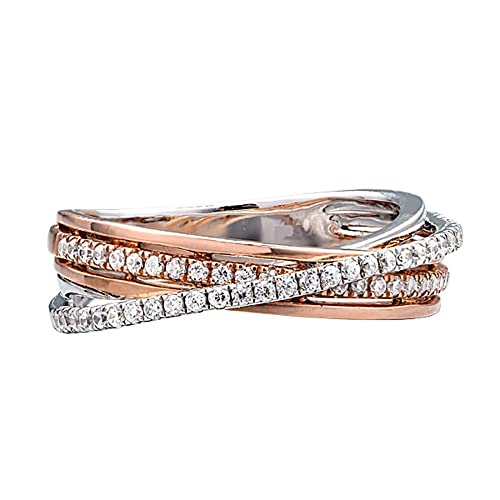 Ze 14k White Gold And Rose Gold Diamond Wrap Ring