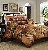 Chezmoi Collection 7-piece Wild Safari Lion Comforter Set (Queen, Brown Lions)