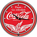 Trademark Wings Coca Cola Neon Clock - Two Neon Rings, Red