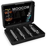 MOOCOM Extractor HSS Broken Bolt and Damaged Screw Extractor 4 Piece Kit Comes with Case. Removes All Kinds of Screws and Bolts. Speed Out Style Dual Tip Design Requires No Drill Bits
