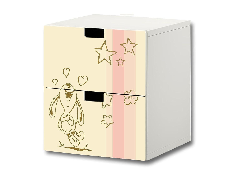 """""""Knuddelwelt"""" beige Möbelsticker / Aufkleber – S2K17 – passend für die Kinderzimmer Kommode mit 2 Fächern / Schubladen STUVA von IKEA – Bestehend aus 2 passgenauen Möbelfolien (Möbel nicht inklusive) günstig bestellen"""