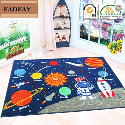 FADFAY Outer Space Kids Rug Cute Kids Room Carpet 3952