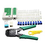 Network Tool Kit, FUNRUI 7 in 1 Professional Ethernet Network LAN Kit RJ11 RJ45 Cat5e Cat6 Cat7 Wire Cable Tester Crimping Tool Crimper, 50pcs RJ45 Coupler Joiners, Internet Coupler (65pcs Set)