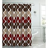 Creative Home Ideas Oxford Weave Textured 13-Piece Shower Curtain with Metal Roller Hooks, Clarisse Espresso
