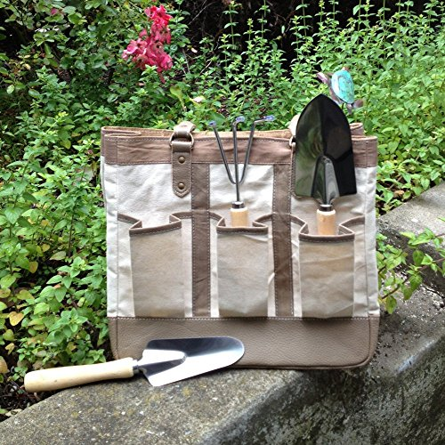Review LadyBagsSF Urban Garden Tote Bag, White and Beige