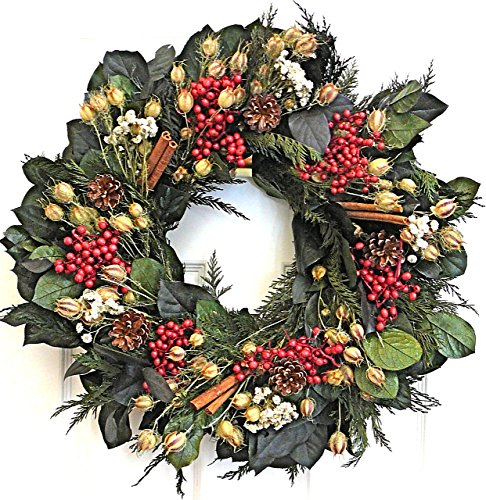 Seasonal Red Berry Dried Holiday Wreath 22 inch