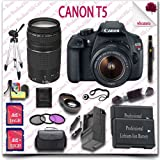 Canon EOS Rebel T5 Camera with EF-S 18-55mm IS II Lens + Canon EF 75-300mm III Lens + Wide Angle Lens Telephoto Lens + 3pc Filter Kit + 16GB SDHC Class 10 Card + 32GB SDHC Class 10 Card + SLR Gadget Bag + 57