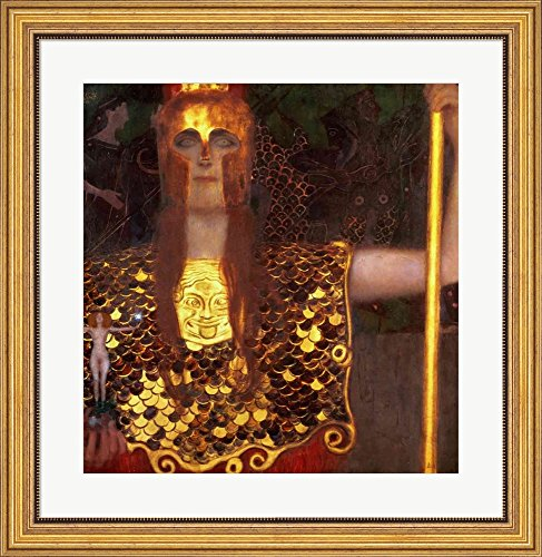 Minerva or Pallas Athena by Gustav Klimt Framed Art Print Wall Picture, Wide Gold Frame with Hanging Cleat, 27 x 28 inches (Athena Picture compare prices)