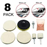 JUST N1 8Pcs Glass Polishing Scratch Removal Kit for Car SUV Windshield Front Rear Window Cerium Oxide Mirror Watch Headlight (Tamaño: as shown)