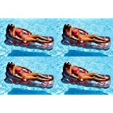 4 New Swimline 9041 Swimming Pool Inflatable Deluxe Lounge Chairs W/Back Support