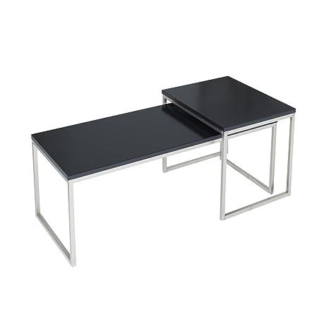 2er Set Couchtisch NOBILE schwarz matt Edelstahl geburstet Satztische Tischset Beistelltische Wohnzimmer