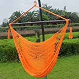 Prime Garden Super Soft Hand Woven Caribbean Style Rope Hammock Chair Orange