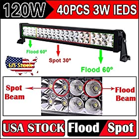 120W Led Work Light Bar Flood Spot Combo Floodlight 60 Degree, Spotlight 30 Degree, 8400LM