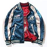 ドゥマン demain ブルゾン リバーシブル 2way MA-1 刺繍 男女兼用 M~3XL 5サイズ AL09 (L, BLUE*RED)