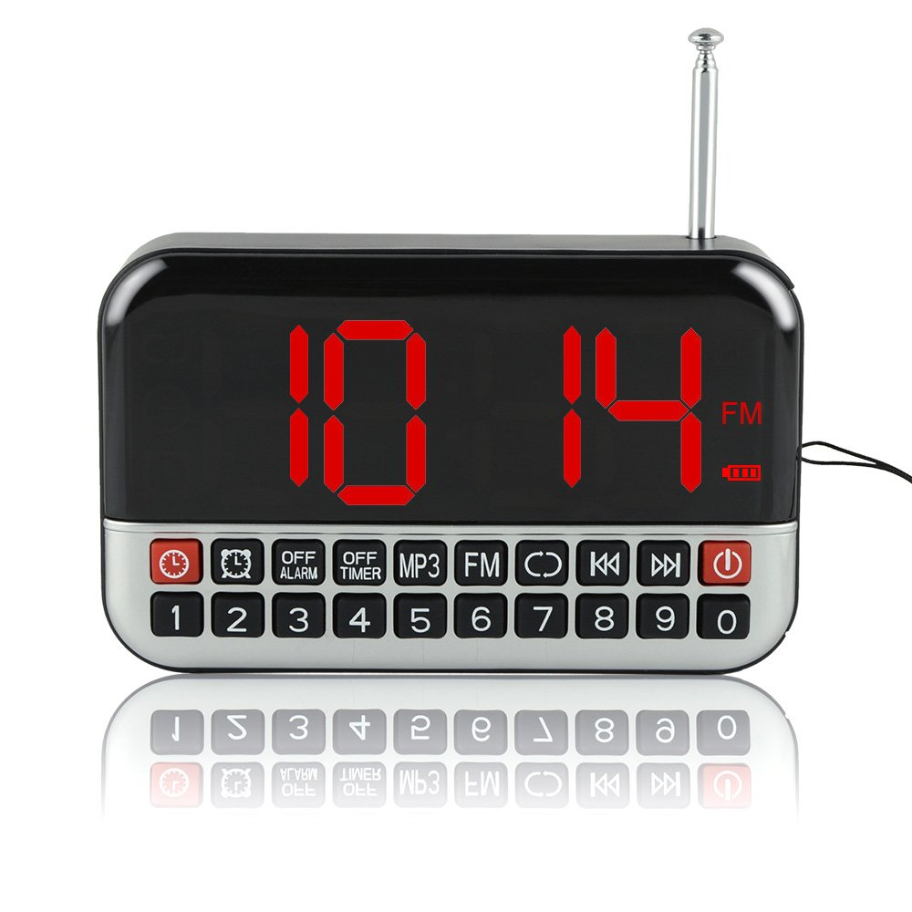 iGuerburn Handy Portable FM Radio/Digital Audio Music Player with Digital Clock for the Elderly Senior People (L-80)
