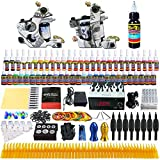 Solong Tattoo® Complete Tattoo Kit 2 Pro Machine Guns 54 Inks Power Supply Foot Pedal Needles Grips Tips TK252