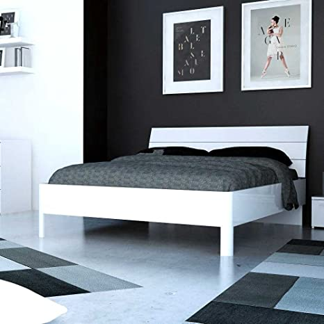 Bett in Hochglanz Weiß modern Breite 166 cm Tiefe 206 cm Liegefläche 160x200 Pharao24