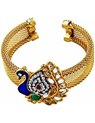 Shining Diva Kundan Peacock Gold Plated Traditional Jewellery Cuff Bracelet Kada Bangles For Women And Girls