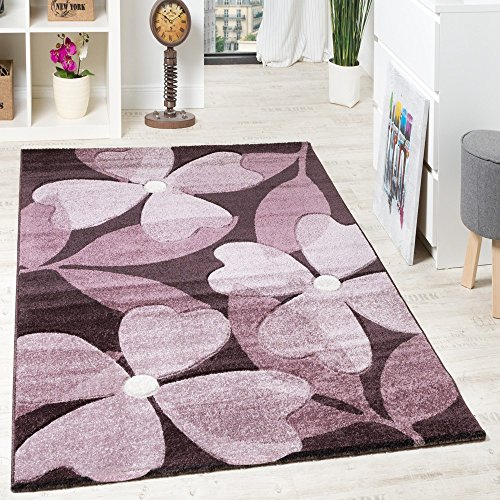 pregiato-tappeto-di-design-a-pelo-corto-motivo-fiorale-quadrifogli-viola-lampone-grosse160x230-cm