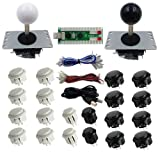 SJJX 2 Players DIY Arcade Game Button and Joysticks Controller Kits for Raspberry Pi and Windows,5 Pin Joysticks,Black and White each with 10 Buttons (Color: Black White)
