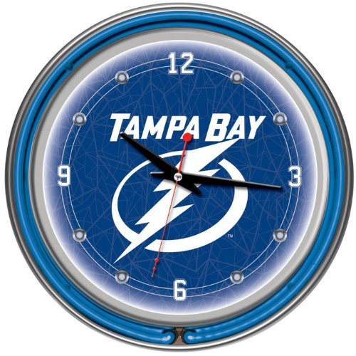 NHL Tampa Bay Lightning Neon Clock - 14 inch Diameter - Game Room Products Neon Clocks NHL - Hockey