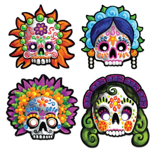 Day Of The Dead Masks   (4/Pkg)
