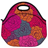 Snoogg Seamless Hand Drawn Waves Texture Travel Outdoor Carry Lunch Bag Picnic Tote Box Container Zip Out Removable Carry Lunchbox Handle Tote Lunch Bag Food Bag For School Work Office